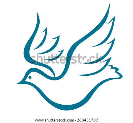 Sketch of a graceful flying dove of peace or bird in flight with outspread wings on white