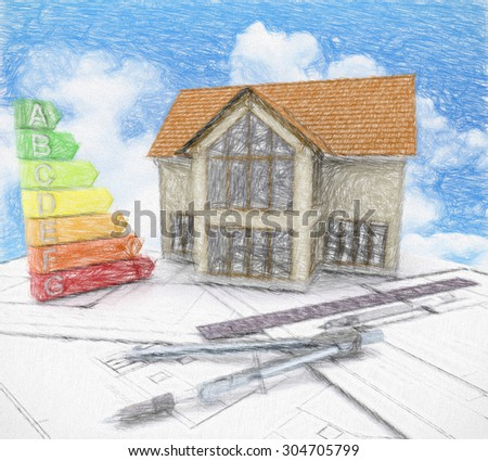 Sketch of a house on plans against a blue cloudy sky