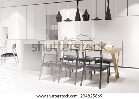 Sketch of a modern eat-in-kitchen with dining table from interior architect (3D Rendering) - stock photo