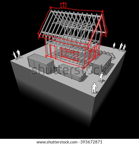 sketch of a simple detached house over a wooden framework construction - stock photo