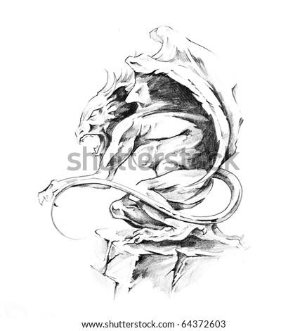 Sketch of a tattoo art, death - stock photo