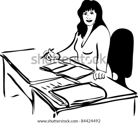 sketch of a woman at the table with business papers - stock photo