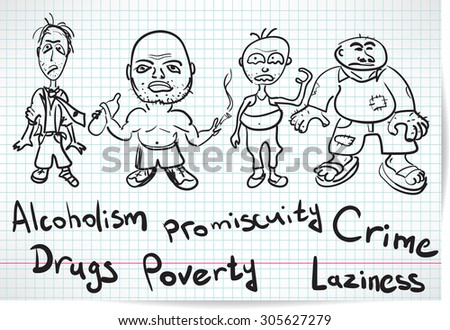 Sketch of alcoholics, drug addicts and the homeless - stock photo