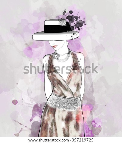 Sketch of an elegant woman with hat - stock photo