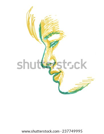 Sketch Of Boy, Side View Of Face, Hand Drawing On White Background. - stock photo