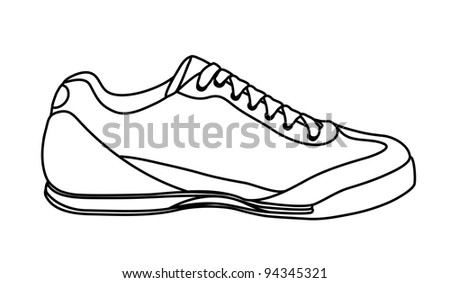 Sketch of casual shoe, sneakers - stock photo