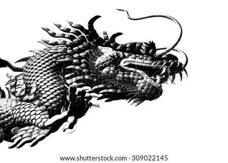 Sketch of Chinese style dragon statue - stock photo