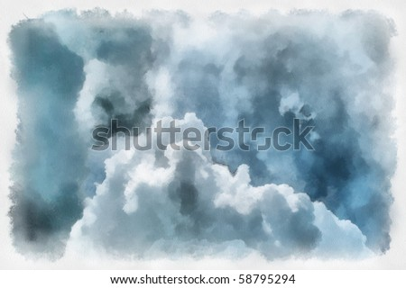 sketch of clouds on watercolor paper - stock photo