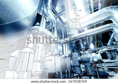 Sketch of Equipment, cables and piping as found inside of a modern industrial power plant                  - stock photo