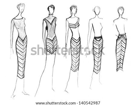 Sketch Fashion Model Range Clothing Diagonal Stock Illustration ...