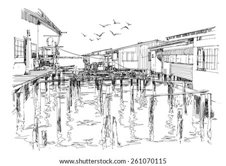 sketch of fishing village in summer - stock photo