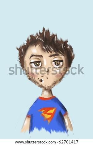 sketch  of funny boy - stock photo