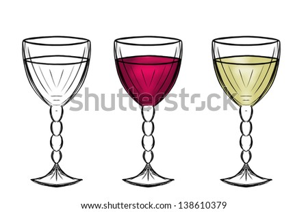 Sketch of glasses with red and white wine