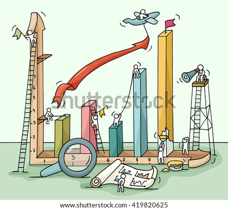Sketch of graph construction with working little people, loupe, arrow. Doodle cute miniature of building diagram and preparing for the big profit. Hand drawn cartoon illustration for business design. - stock photo