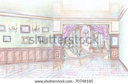 Sketch of hall of building with ladder - stock photo