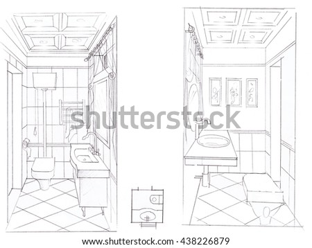Bathroom Drawing Sketch Of Interior Handmade Graphics I In Design Ideas