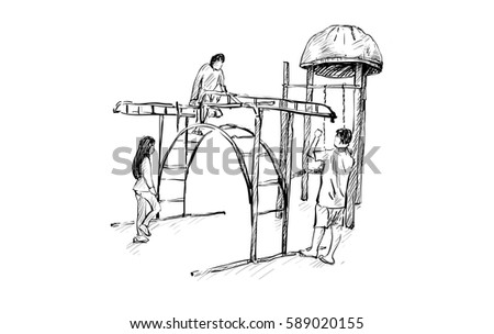 sketch of kids playground on public space isolated illustration