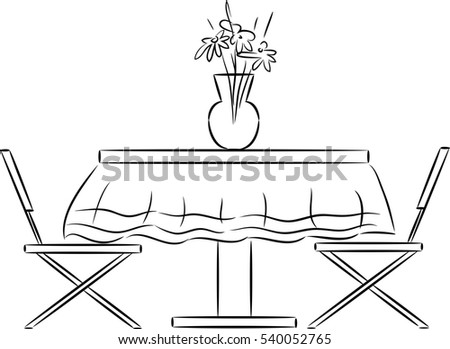 kitchen table clipart black and white. sketch of kitchen table and chairs clipart black white