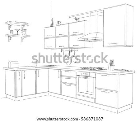Sketch of modern corner kitchen 3d freehand illustration black pencil lines on white background