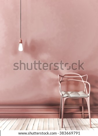 Sketch of pink interior composition with a chair and hanging Edison light bulb  - stock photo