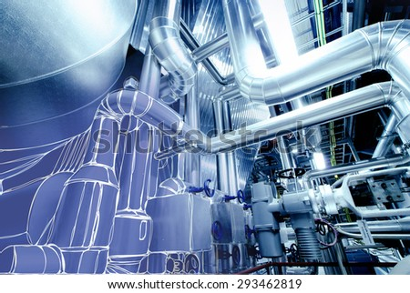 Sketch of piping design mixed with  power plant photo