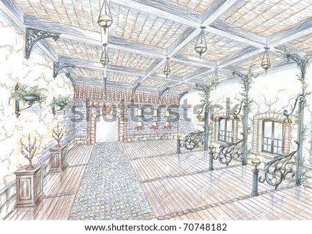 Sketch of restaurant hall in style of city street - stock photo