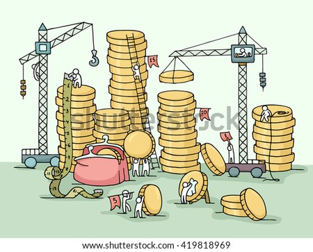 Sketch of stack of coins with working people, crane, purse. Doodle cute miniature of construction golden coins and preparing for the big profit. Hand drawn cartoon illustration for business design. - stock photo
