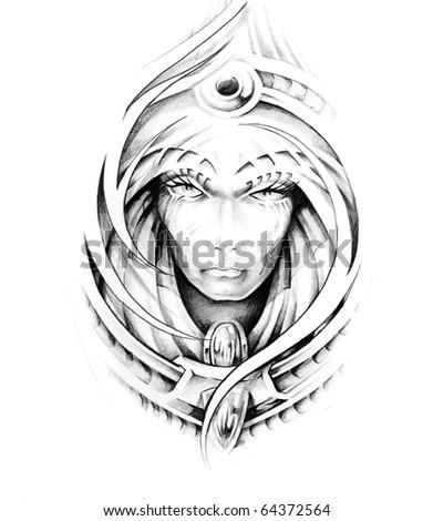 Sketch of tattoo art - stock photo