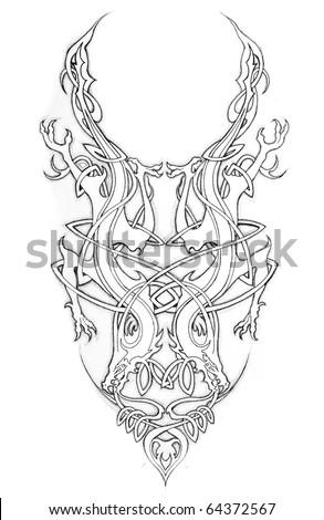 Sketch of tattoo art, celtic - stock photo