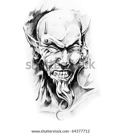 Sketch of tattoo art, death - stock photo