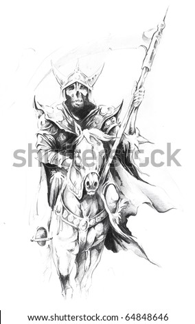 Sketch of tattoo art, death at horse - stock photo