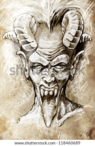 Sketch of tattoo art, devil head, gothic, vintage style - stock photo