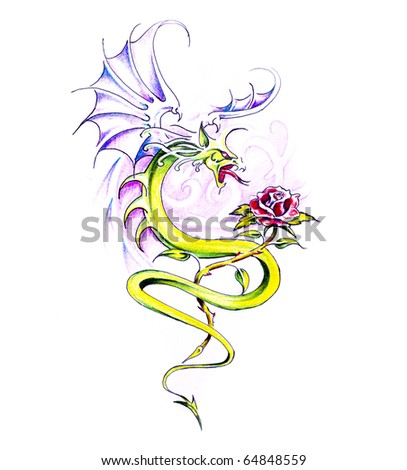 Sketch of tattoo art, dragon and rose - stock photo