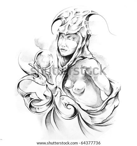 Sketch of tattoo art, fairy - stock photo