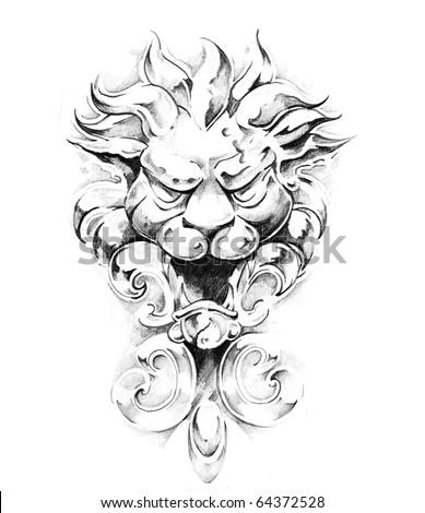 Sketch of tattoo art, gargoyle - stock photo