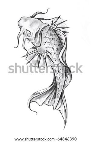 Sketch of tattoo art, goldfish - stock photo