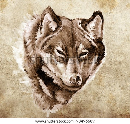 Sketch of tattoo art, Illustration of a Wolf head - stock photo