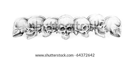 Sketch of tattoo art, Indian Bracelet, skulls - stock photo