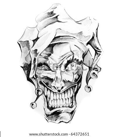 Sketch of tattoo art, joker - stock photo
