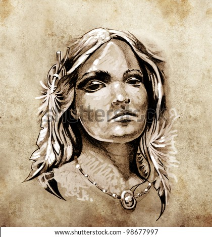 Sketch of tattoo art, Lovely and passionate look from a tent of American Indian girl