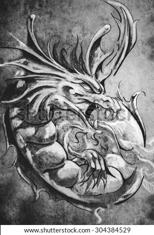 Sketch of tattoo art, medieval dragon, vintage style - stock photo