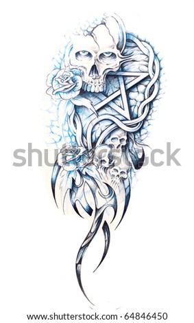 Sketch of tattoo art, monster - stock photo
