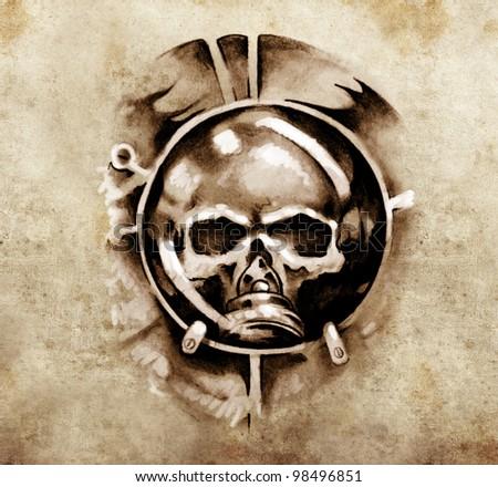 Sketch of tattoo art, monster dark mask design elements over vintage background - stock photo