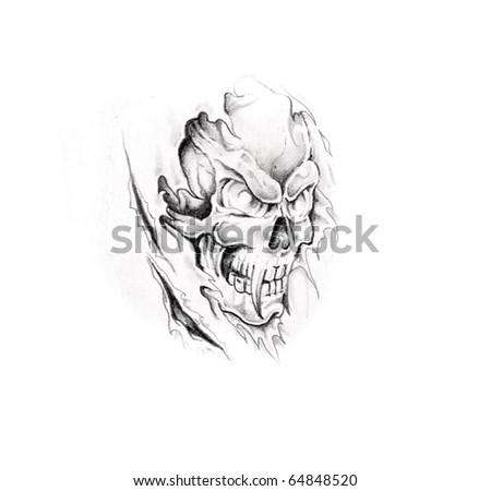 Sketch of tattoo art, monster, skull - stock photo
