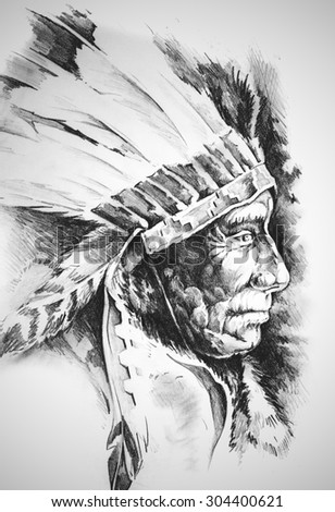 Sketch of tattoo art, native american indian head, chief, isolated - stock photo