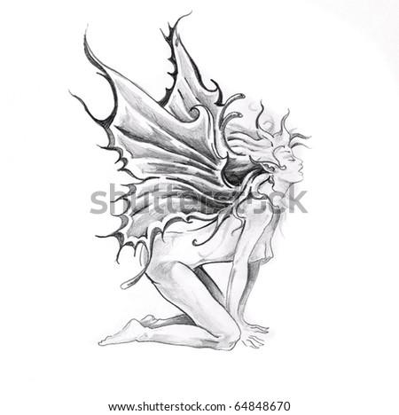 Sketch of tattoo art, nude fairy - stock photo