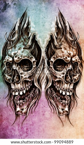Sketch of tattoo art, skull head illustration, over colorful paper - stock photo