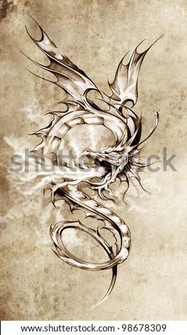 Sketch of tattoo art, stylish dragon illustration - stock photo