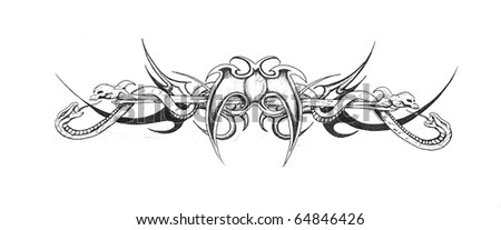 Sketch of tattoo art, tribal design - stock photo