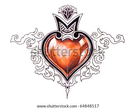 Sketch of tattoo art, tribal design, heart - stock photo